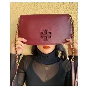 Tory Burch Britten Patent Burgundy Crossbody